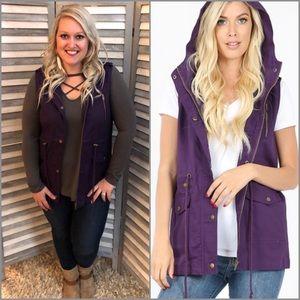 Dark Purple Military Hoodie Vest